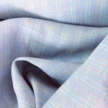 Tissu en lin bleu à rayures