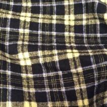 Tissu flanelle de laine tartan noir et  jaune