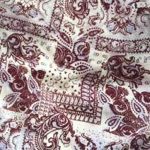 Tissu laine tissu au metre beige imprimé bordeaux, chemisier, robe longue