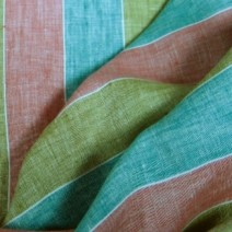 tissu lin à rayures larges vert et rouge