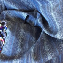 Tissu en lin bleu rayures