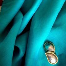 Tissu lin chambray bleu vert
