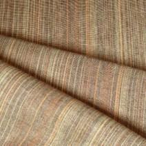 Tissu en lin marron à rayures orange