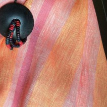 Tissu en lin orange à rayures