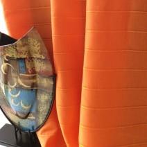 Tissu lin rayures orange