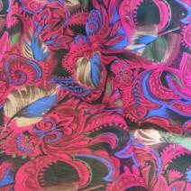 Tissu polyester imprimé arabesque plume