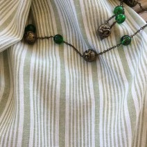 Tissu rayures blanc et vert