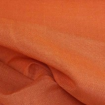 Tissu lin polyester toile orange