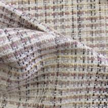 Tissu tweed beige et jaune
