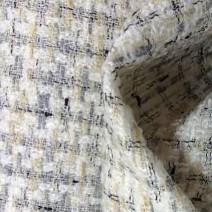 Tissu tweed carreaux écru et blanc