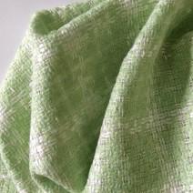 Tissu tweed vert et blanc
