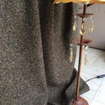 Rideau au metre tweed laine donegal noir et camel