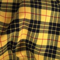Tissu polyester laine écossais extensible jaune