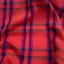 Tissu lin écossais rouge pour chemisier