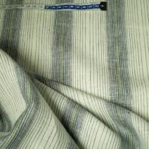 Tissu en lin beige rayures bleu