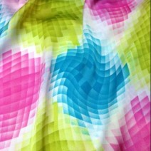 Tissu polyester imprimé Vasarely, chemisier