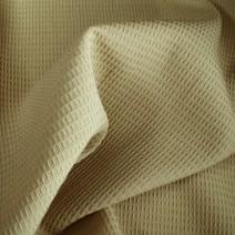Tissu polyester laine nid d'abeilles beige