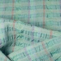 Tissu lin turquoise avec relief