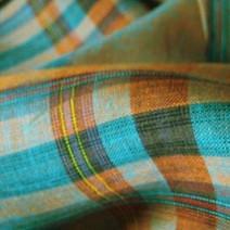 Tissus écossais en lin changeant orange et turquoise