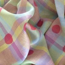 Tissu lin écossais rose imprimé japonais - PROMO DU 19/07 AU 26/07