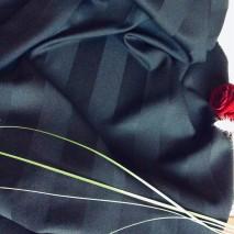 Tissu ameublement rayé ton sur ton - tissu décoration noir