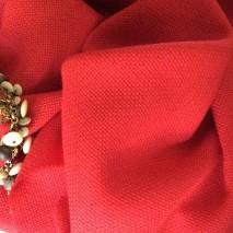 Tissu en laine rouge - tweed au mètre d'été