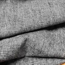 Tissu flanelle de laine peignée noir et gris au motif prince de galles