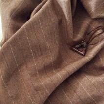 Tissu laine à rayures couleur marron noisette
