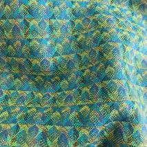 Tissu laine satiné tissu wax turquoise et vert - Tissus en ligne