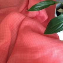 Tissu lin corail - tissu voilage à carreaux ton sur ton