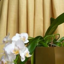 Tissu lin et polyester couleur jaune paille tissus ameublement au mètre