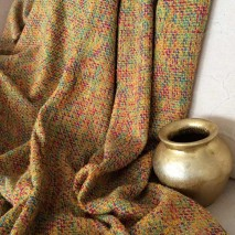 Tissu tweed jaune tissu multicolore tissu ameublement