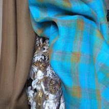 Tissus ameublement écossais turquoise et kaki - tissu couture