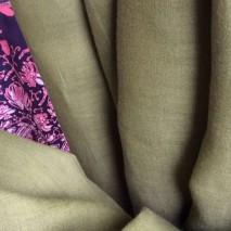 Toile de lin tissu kaki - tissu d'ameublement - tissu décoration kaki