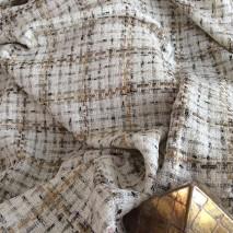 Tweed pour décoration, tweed écru fantaisie