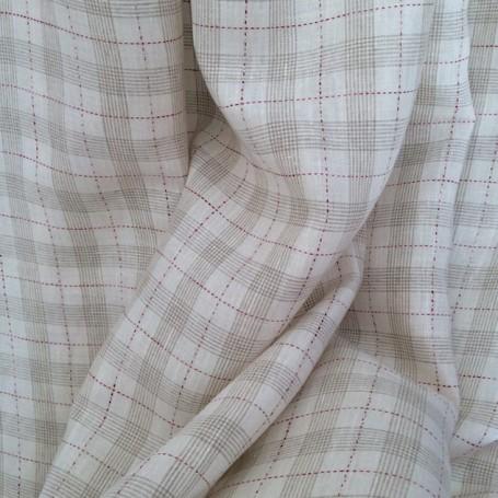 tissu tartan beige et rouge