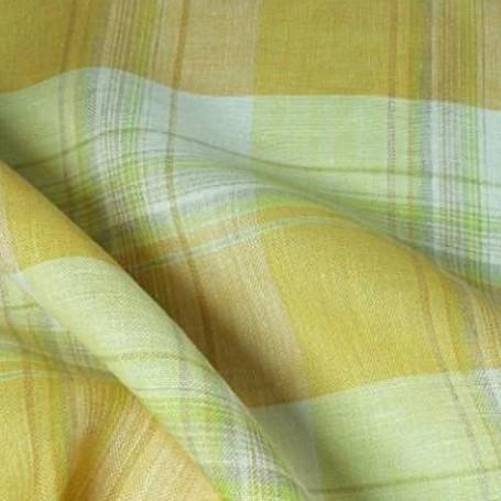 Tissu lin écossais jaune