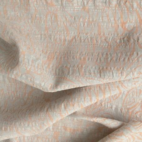 tissu lin gris imprimé orange