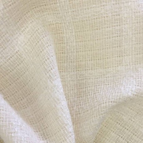Tissu tweed de laine carreaux écru