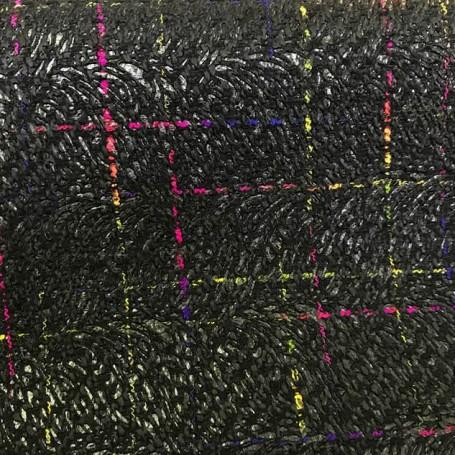 Tissu tweed noir et fils colorés