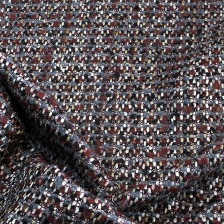 Tissu tweed bordeaux