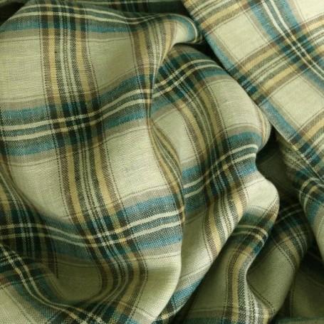 coupon tissus écossais en lin