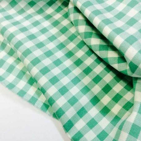 Coupon tissu vichy vert cardailhac