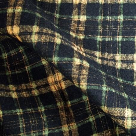 Tissu flanelle de laine écossais noir et orange