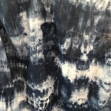 tissu tie and dye bleu