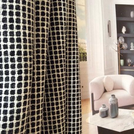tissu à carreaux noir et blanc cardailhac