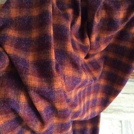 Tissu écossais en laine orange