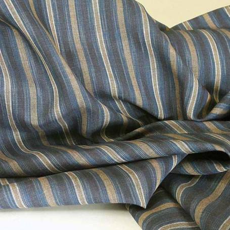 Toile de lin rayures bleu