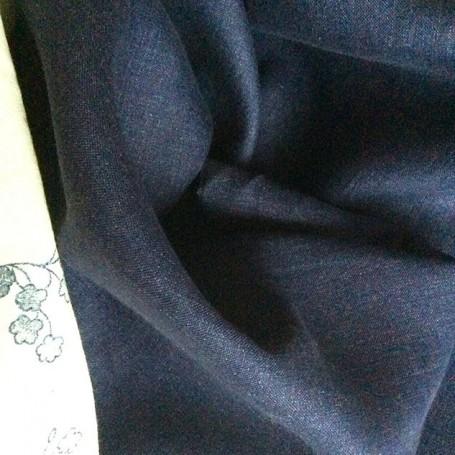 Tissu bleu jean en lin