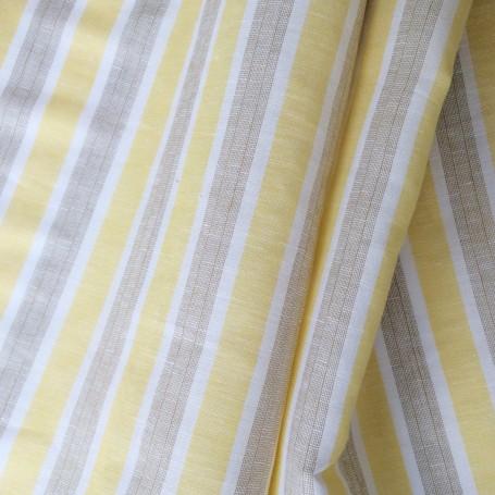 Tissu lin et coton à rayures jaune